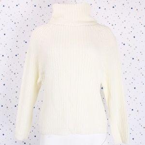 Sweaters - Raglan Long Sleeve Turtle Neck Knit Sweater Ivory